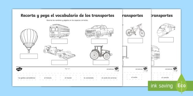 precursive transport scene labelling cut and stick worksheet spanish. Black Bedroom Furniture Sets. Home Design Ideas