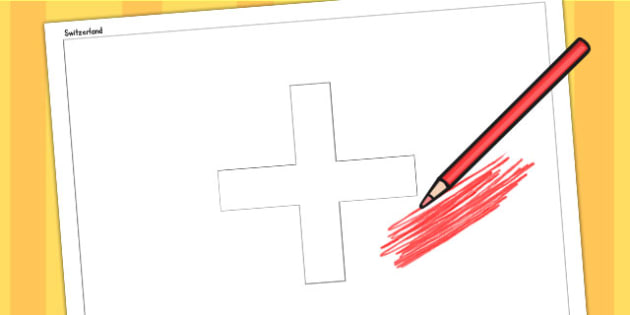 Switzerland A4 Colouring Flag - geography, country, colour in