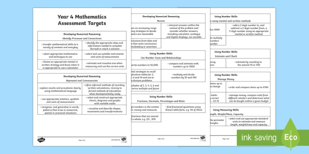 Curriculum for Wales Year 4 Mathematics Targets Assessment Pack - Back to school resources, Mathematics, Assessment, Year 4, Wales. ,Welsh