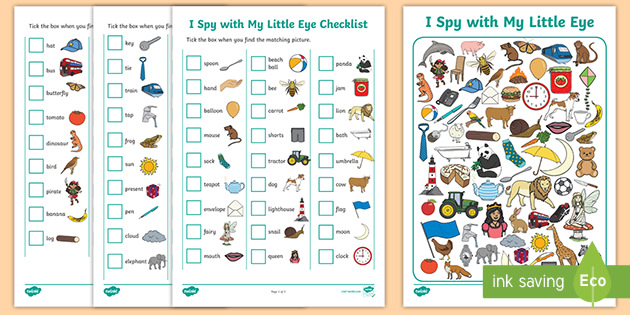I Spy Pictures >> I Spy With My Little Eye Educational Game Worksheet