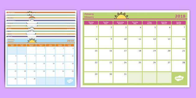 2018 Monthly Calendar Southern Hemisphere Planning Template English