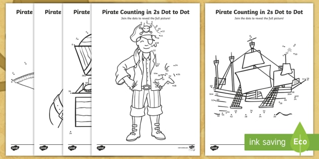* NEW * KS1 Pirate Themed Counting In 2s Dot To Dot Worksheets