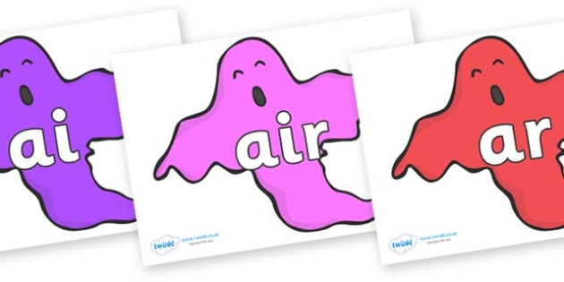 Phase 3 Phonemes on Ghosts (Multicolour) - Phonemes, phoneme, Phase 3, Phase three, Foundation, Literacy, Letters and Sounds, DfES, display