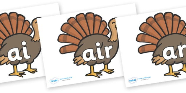 Phase 3 Phonemes on Turkeys - Phonemes, phoneme, Phase 3, Phase three, Foundation, Literacy, Letters and Sounds, DfES, display