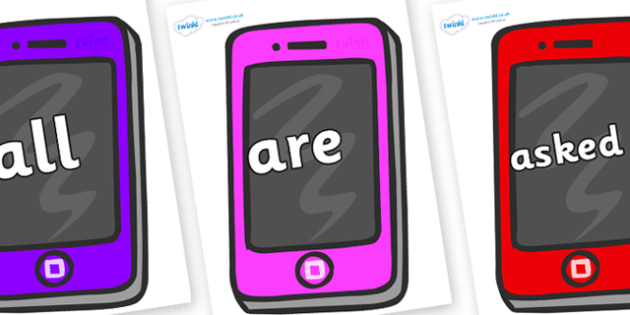Tricky Words on Mobile Telephones - Tricky words, DfES Letters and Sounds, Letters and sounds, display, words