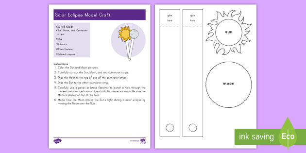 Solar Eclipse Craft Instructions - earth, moon, sun, space, events, 2017, lunar, total eclipse