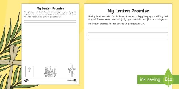 My Lenten Promise Worksheet Activity Sheet Roi Lent Lenten