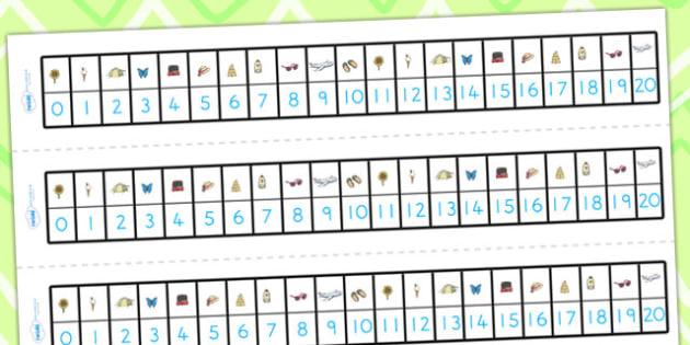 Summer Number Track 0-20 - summer, number track, numbers, maths