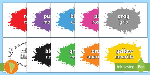 Color Names On Splats Englishspanish Color Names On