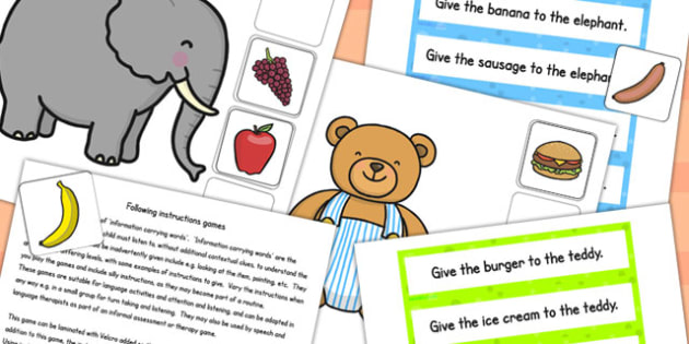 Elephant and Teddy Following Instructions Word Game 1ICW - games