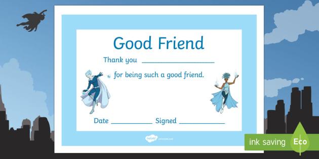 Anti-Bullying Week Superhero Good Friend Certificate