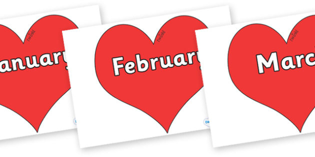 Months of the Year on Hearts (Plain) - Months of the Year, Months poster, Months display, display, poster, frieze, Months, month, January, February, March, April, May, June, July, August, September