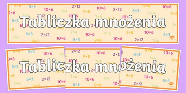 Banner Tabliczka mnożenia po polsku
