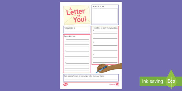Intergenerational Pen Pal Club Writing Worksheet / Activity Sheet - Pen Pal Letter Writing, Frames, Templates, Ideas, Intergenerational, Elderly Care, Schools