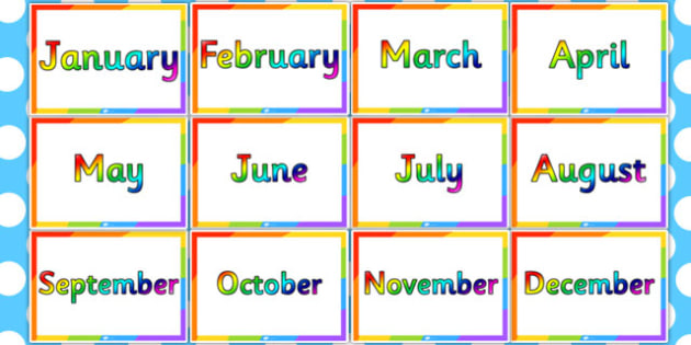 Rainbow Months of the Year - rainbow, months, year, colours