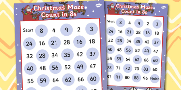 Christmas Counting in 8s Maze Activity - christmas, counting