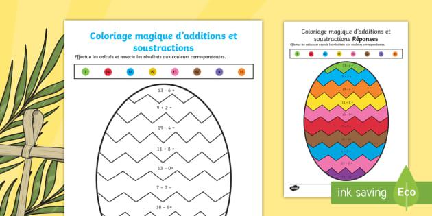 Coloriage Paques Magique.Coloriage Magique D Additions Et Soustractions Sur Le Theme