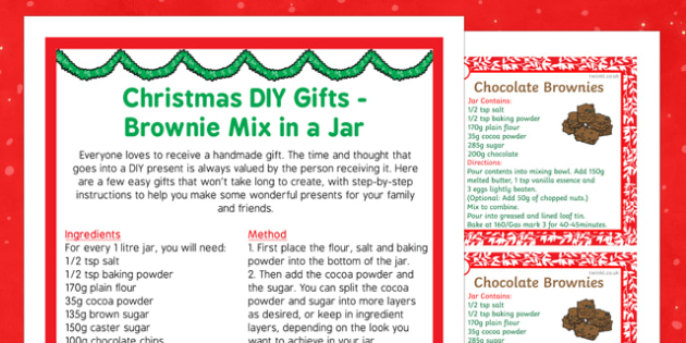 Christmas DIY Gifts Brownie Mix in a Jar - christmas, diy, gifts, brownie mix, jar