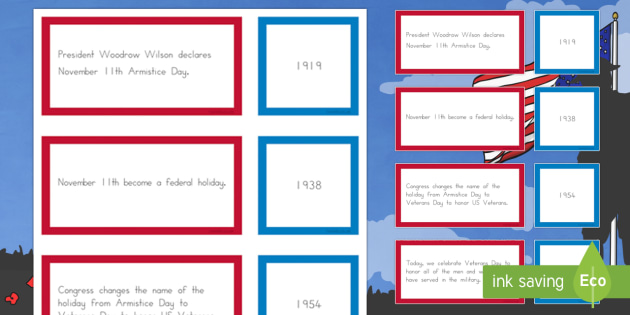 Veterans Day Timeline Matching Cards