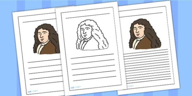 Samuel Pepys Writing Frame - Samuel Pepys, writing frame, writing template, writing guide, writing aid, line guide, writing guide, themed writing aid, aid