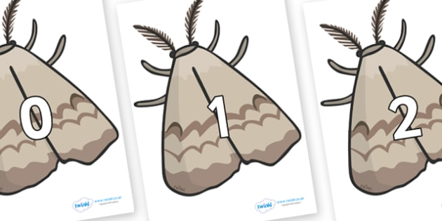 Numbers 0-100 on Moths - 0-100, foundation stage numeracy, Number recognition, Number flashcards, counting, number frieze, Display numbers, number posters