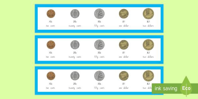 New Zealand Coin Strips - New Zealand, maths, coins, money, strips, kiwi, dollar, cent