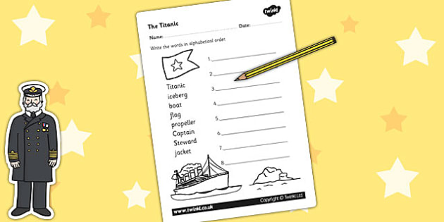 The Titanic Word Ordering Worksheet - titanic, order, ordering