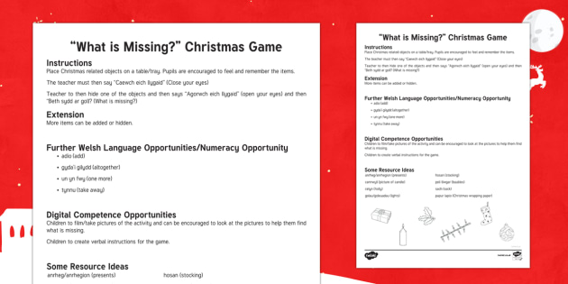 What is Missing? Christmas Worksheet / Activity Sheet-Welsh