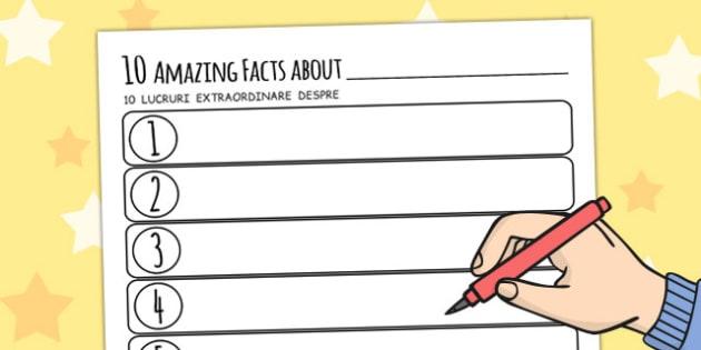 Ten Facts About Me Worksheet Romanian Translation - romanian