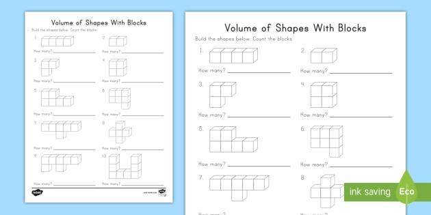 Kindergarten Volume of Shapes With Blocks Worksheet - volume, shapes ...