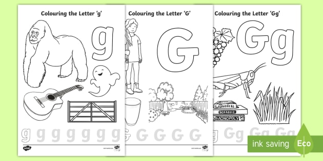 Precursive Letter G Coloring Pages
