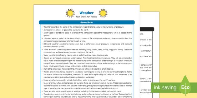 Weather Fact Sheet for Adults - EYFS, Early Years, KS1, seasons, sun, rain, snow