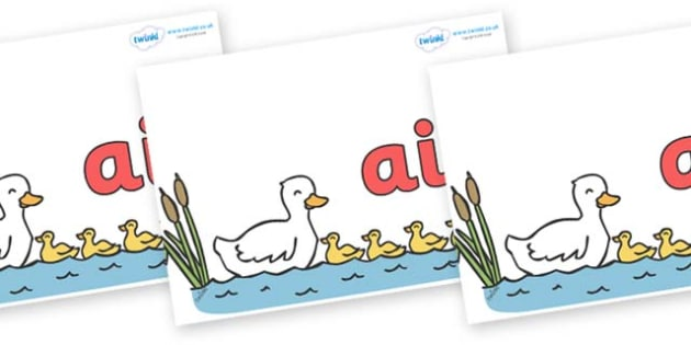 Phase 3 Phonemes on Five Little Ducks - Phonemes, phoneme, Phase 3, Phase three, Foundation, Literacy, Letters and Sounds, DfES, display