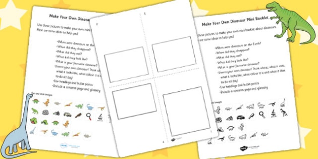 Make Your Own Dinosaur Mini Booklet - dinosaurs, design, art and design, art, crafts, make your own dinosaur, booklet, activities, design activities