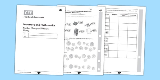 First Level Assessment: Number, Money and Measure - Money - CfE, numeracy, mathematics, measure, money, coins, change