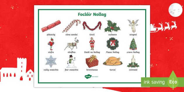 christmas words word mat gaeilge christmas gaeilge nollag