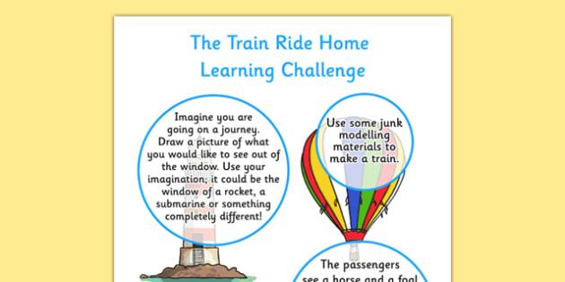 The Train Ride EYFS Home Learning Challenge Sheet Nursery FS1 - train ride, eyfs