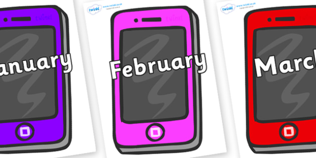 Months of the Year on Mobile - Months of the Year, Months poster, Months display, display, poster, frieze, Months, month, January, February, March, April, May, June, July, August, September