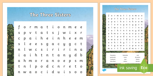 The Three Sisters Word Search - Sydney Australia, the three sisters, blue mountains, word search, find a word, fun, activity, spelli