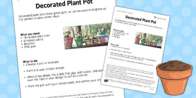 Decorate a Pot Worksheet - decorate, pot, worksheet, garden