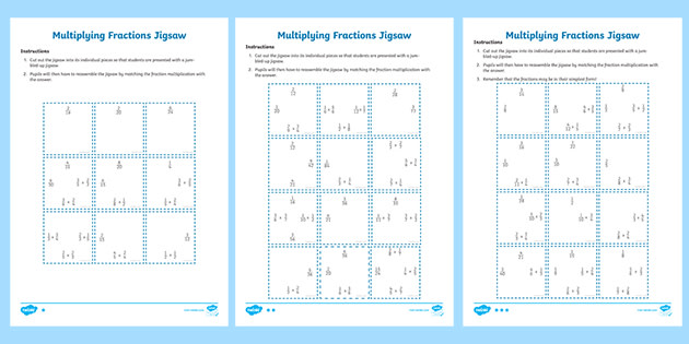 Multiplying Fractions Year 6 Jigsaw Activity Worksheet