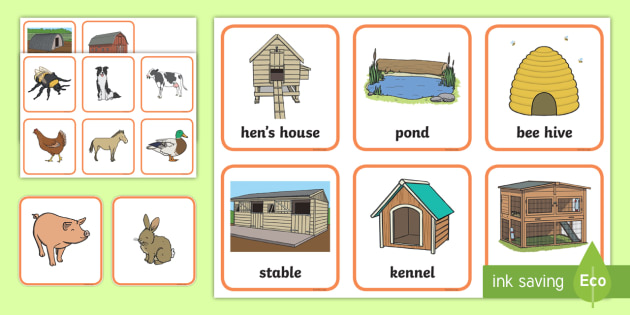 Where Do Different Farm Animals Live Matching Activity
