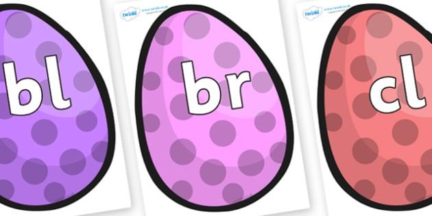 Initial Letter Blends on Easter Eggs (Spots) - Initial Letters, initial letter, letter blend, letter blends, consonant, consonants, digraph, trigraph, literacy, alphabet, letters, foundation stage literacy