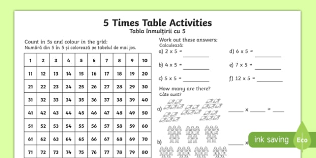 5 Times Table Worksheet / Worksheet English/Romanian - 5 ...