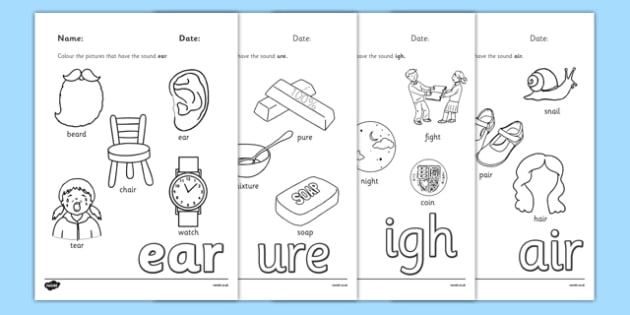 Phase 3 Trigraph Colouring Sheets Pack - phase 3, trigraph, colouring, sheets