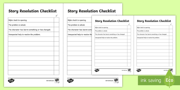 Story Resolution Checklist - story resolution, resolving a story, how to resolve a story, how to end a story, story ending checklist, story finish, ks2
