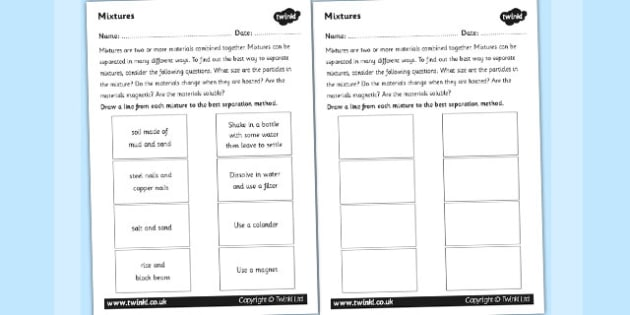 Mixtures Worksheet mix mixing investigation science – Mixture Worksheet