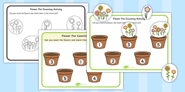 Flower Pot Counting Cut and Stick Activity - flower pot, counting