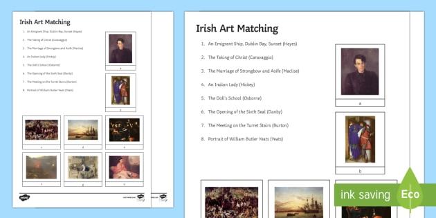 Irish Art Matching Activity - Irish Art Resources, art strands, display resources, Irish art, artists, matching, game, National Ga