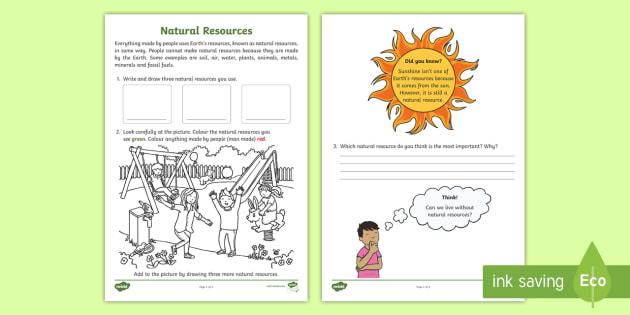 Identifying Natural Resources Science Worksheet / Worksheet - ACSSU032
